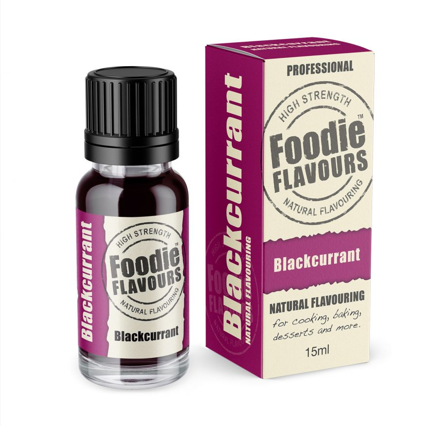 blackcurrant natural flavouring bottle and box