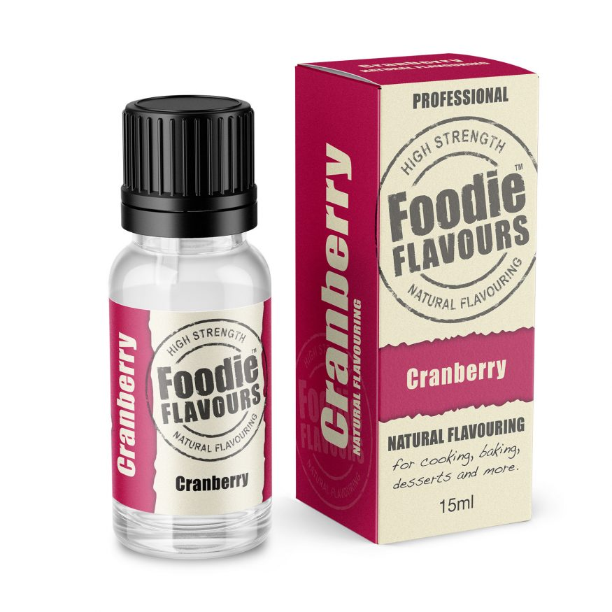 cranberry natural flavouring bottle and box
