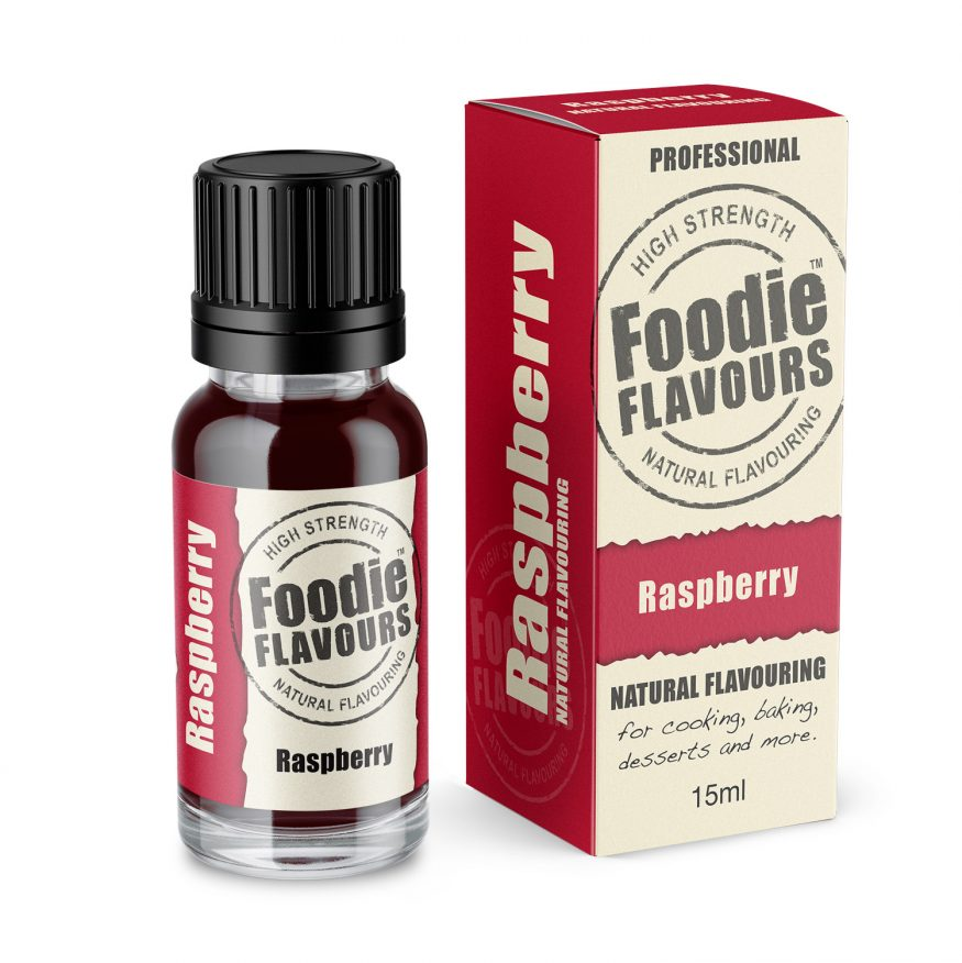 raspberry natural flavouring bottle and box