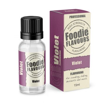 Violet Flavouring bottle and box