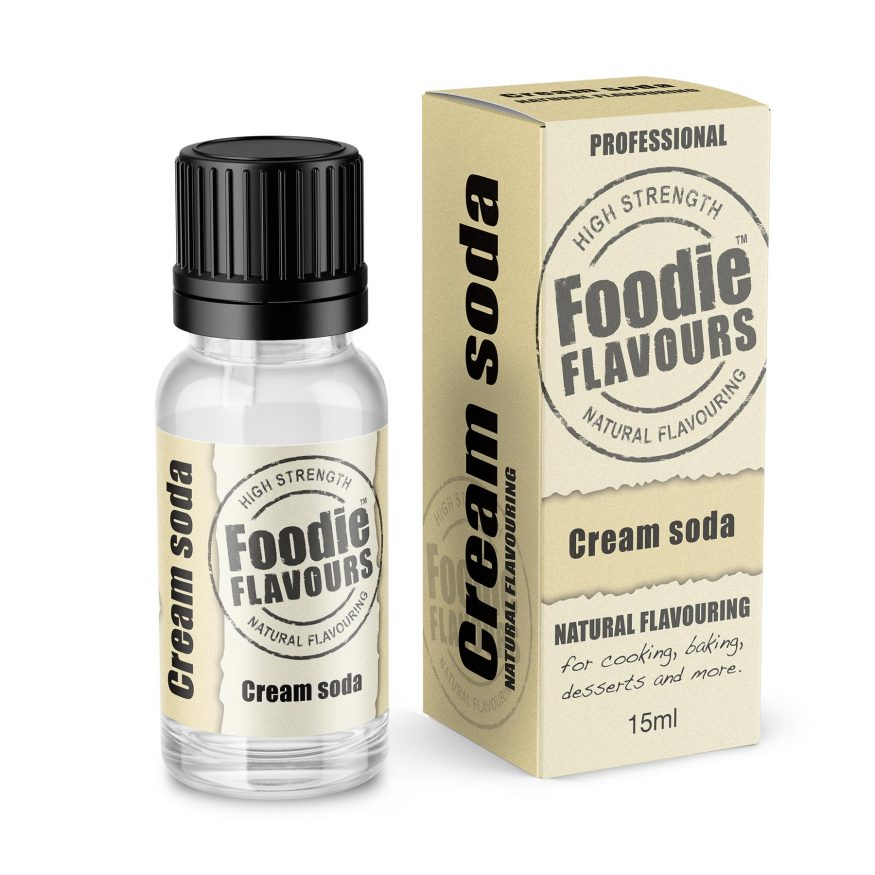 cream soda natural flavouring bottle and box