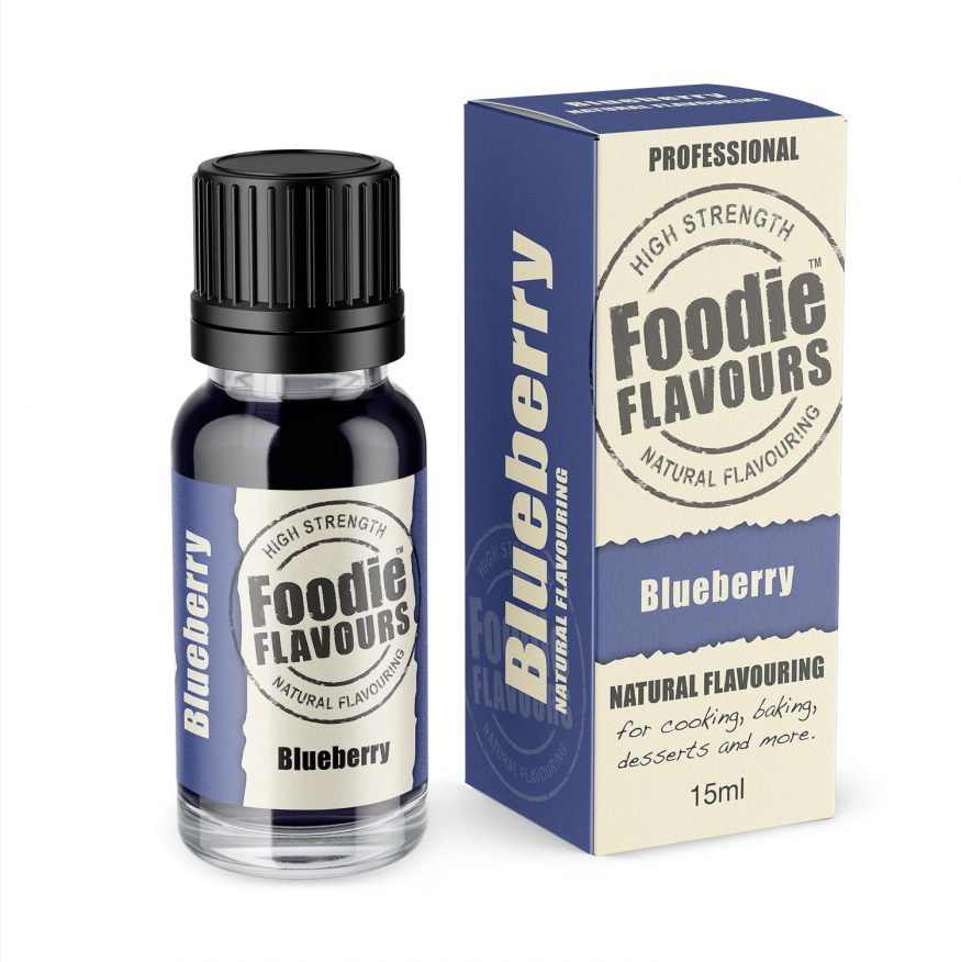blueberry natural flavour bottle and box