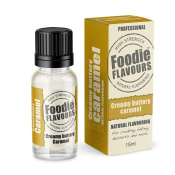 creamy buttery caramel natural flavouring bottle and box