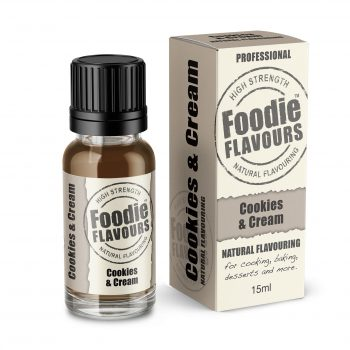 cookies and cream natural flavouring bottle and box