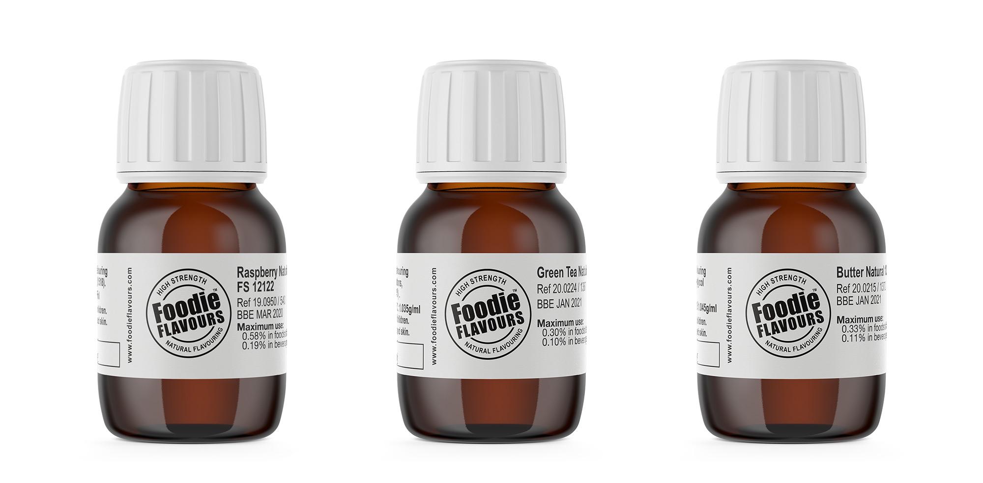 natural flavouring sample bottles
