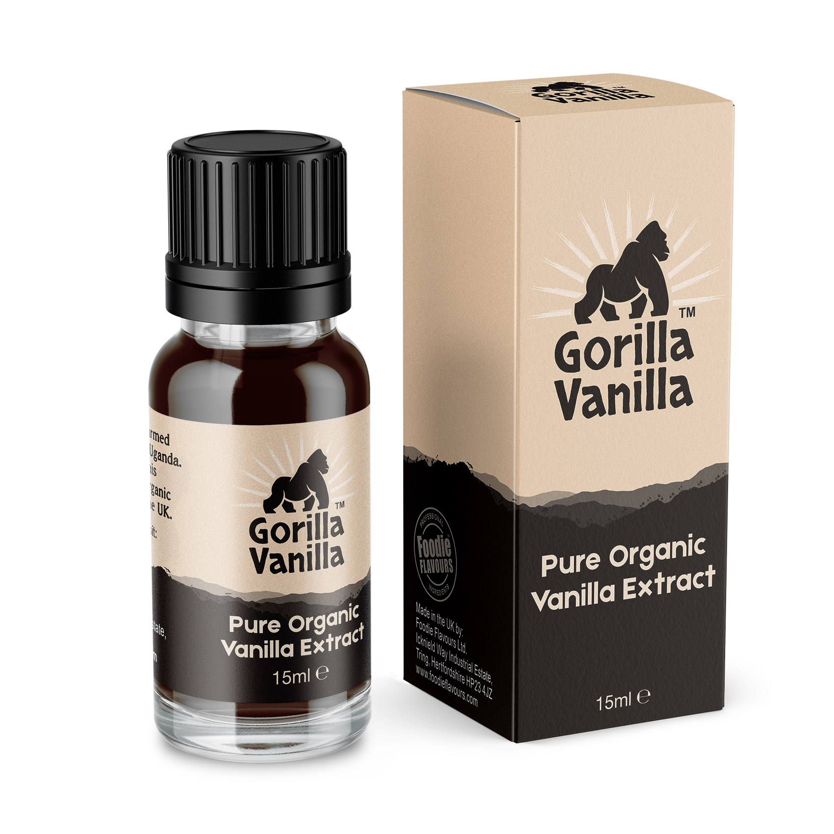 Gorilla Vanilla - Organic Vanilla Extract - 15ml Bottle with box