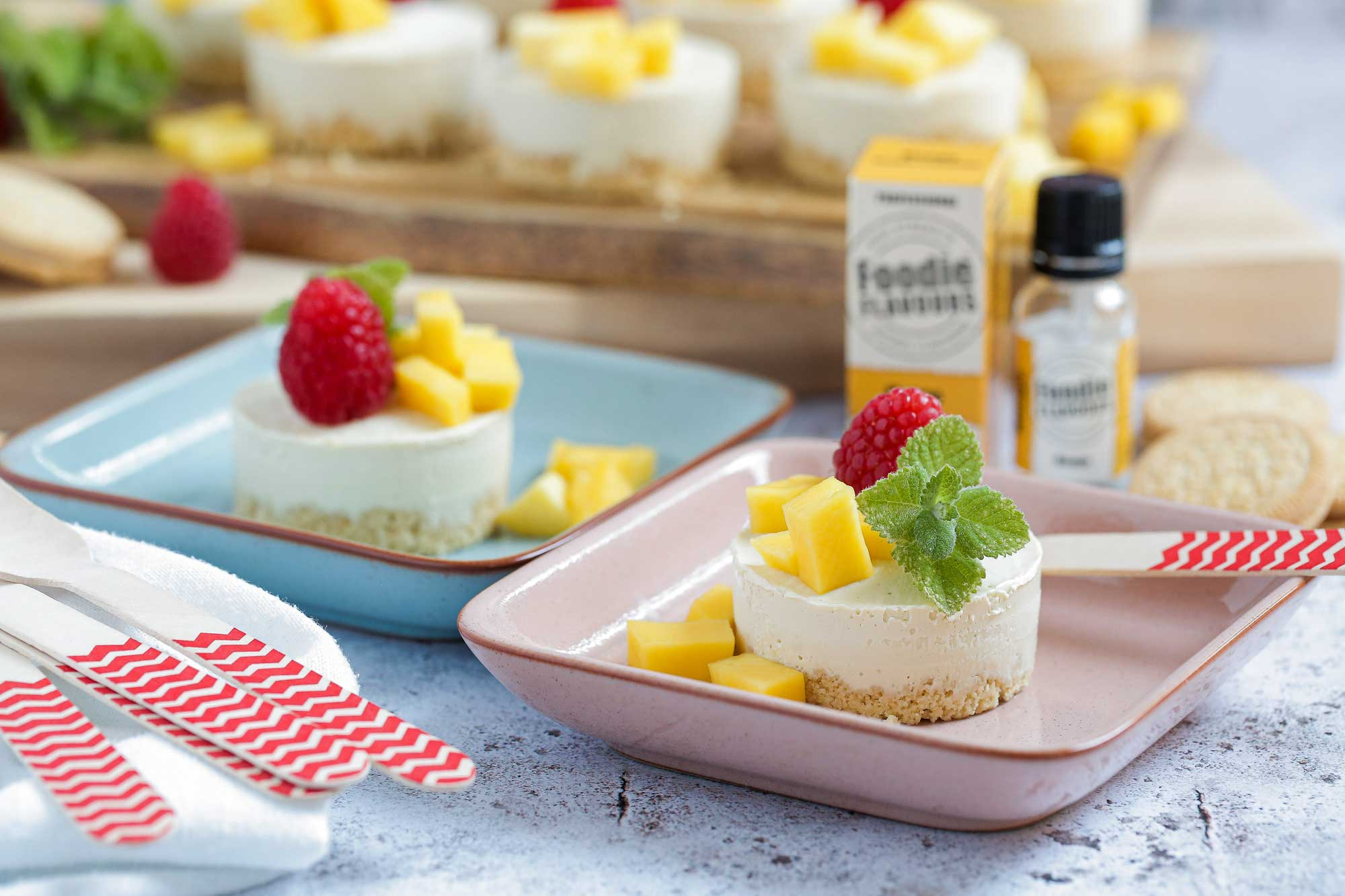 Vegan No-Bake Mango Cheesecakes