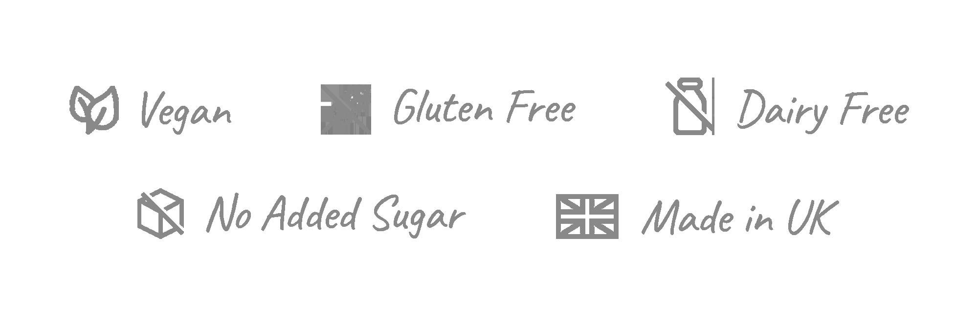 vegan, gluten free, dairy free, no added sugar, made in the UK